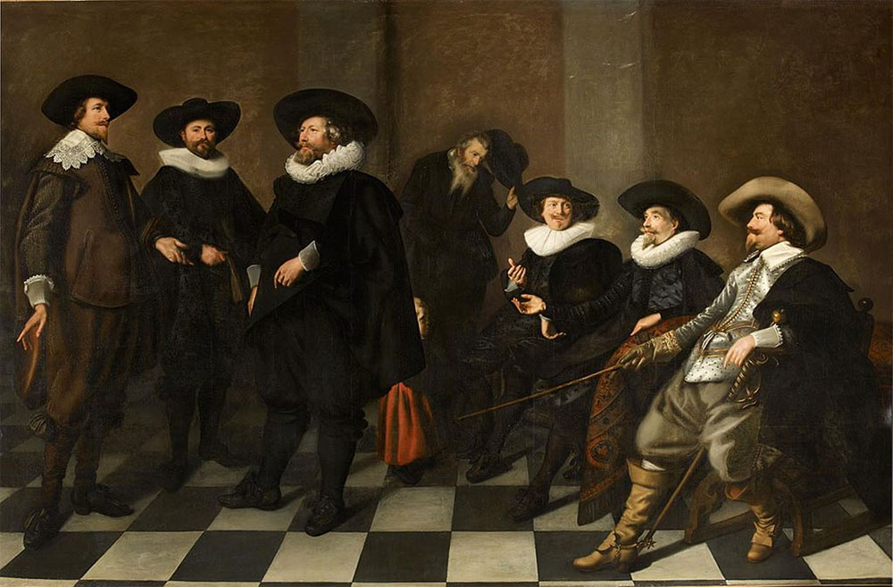 Portrait of the regents of the Amsterdam city orphanage in 1633