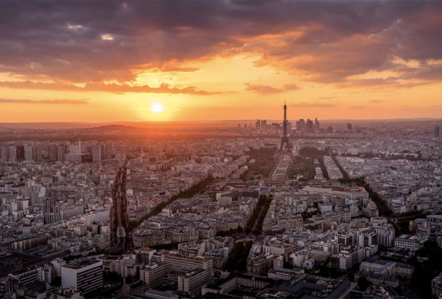PHOTO DESCRIPTION: Paris skyline at dusk.