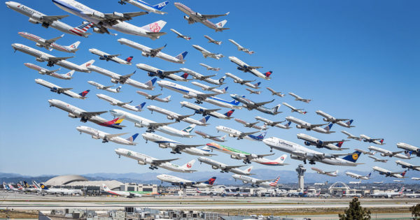 Montage of Airplanes Taking Off From Los Angeles International Airport