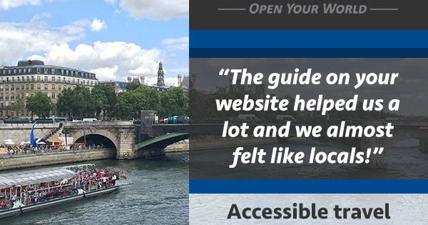 Photo Description: Photo of the River Seine in Paris, with the text of a reader e-mail overlayed. That text reads 'The guide on your website helped us a lot and we almost felt like locals!'