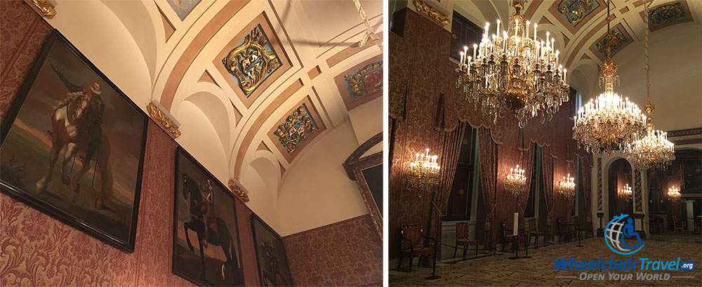 PHOTO DESCRIPTION: Magistrates Chamber with ornate curved ceiling and beautiful paintings on the walls.