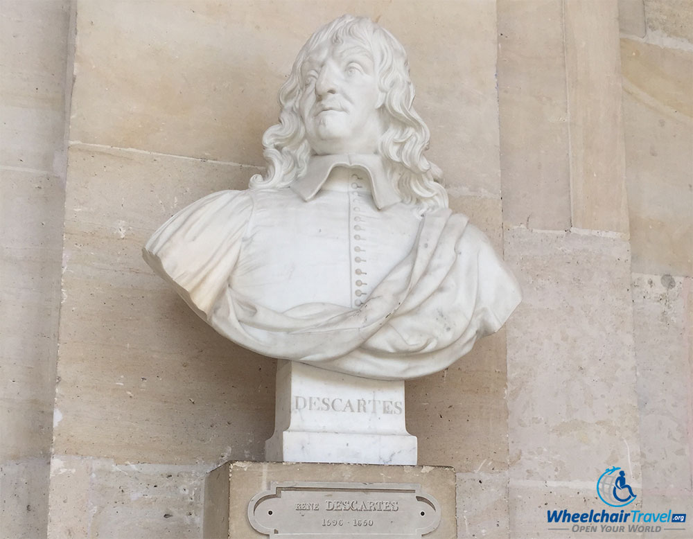 PHOTO DESCRIPTION: Sculpted bust of Rene Descartes.