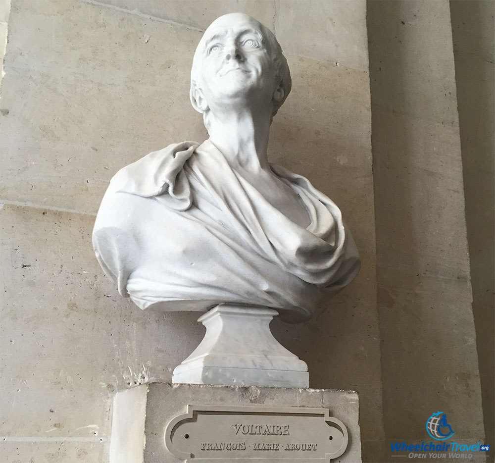 PHOTO DESCRIPTION: Sculpted bust of Voltaire.