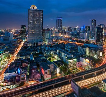 PHOTO DESCRIPTION: Bangkok skyline at night.