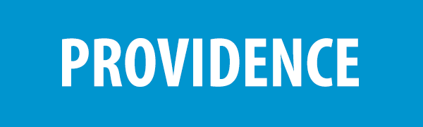 PHOTO DESCRIPTION: White text on a blue background that reads PROVIDENCE.