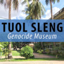 PHOTO DESCRIPTION: Text reading Tuol Sleng Genocide Museum written overtop of an image of the S-21 Khmer Rouge prison in Phnom Penh, Cambodia.