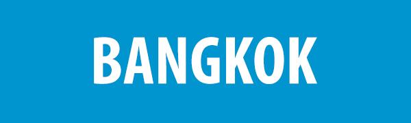 PHOTO DESCRIPTION: White text on a blue background that reads BANGKOK.