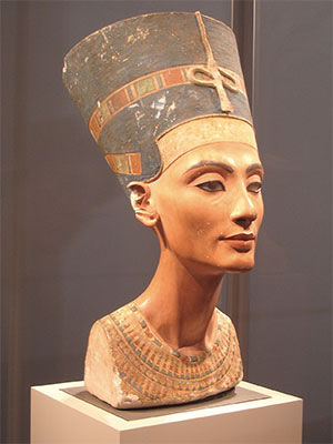 PHOTO DESCRIPTION: Nefertiti bust at the Neues Museum on Museum Island in Berlin, Germany.