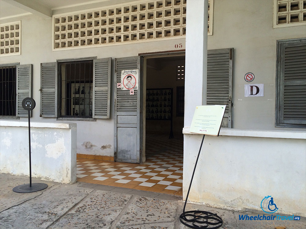 PHOTO DESCRIPTION: Level, barrier free entrance to Building D at Tuol Sleng Genocide Museum.