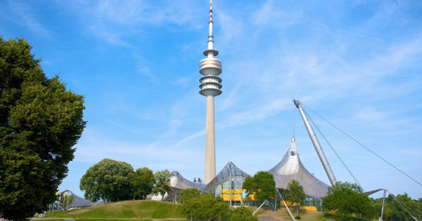 PHOTO DESCRIPTION: Munich Olympic Tower in the Olympiapark.