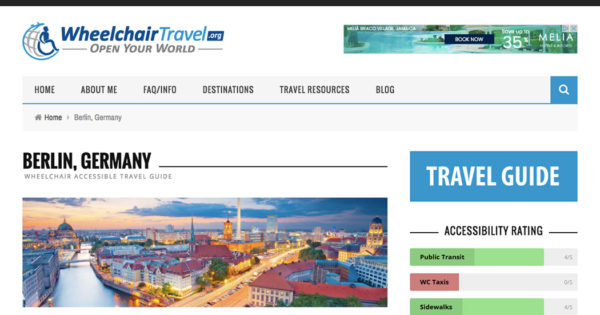 IMAGE: Screenshot of the Berlin, Germany travel guide home page.
