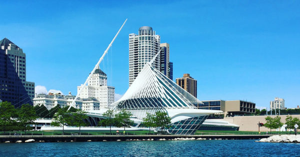 PHOTO: Wings of the Milwaukee Art Museum in the process of opening.