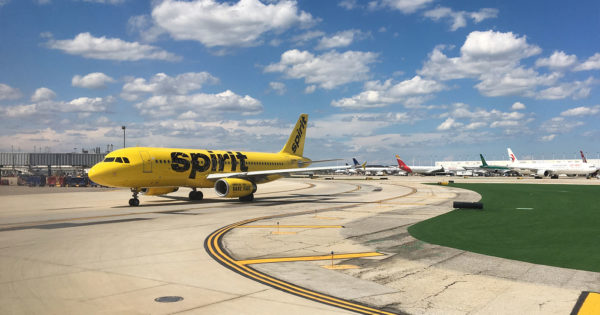 PHOTO: Spirit Airlines plane preparing to land.