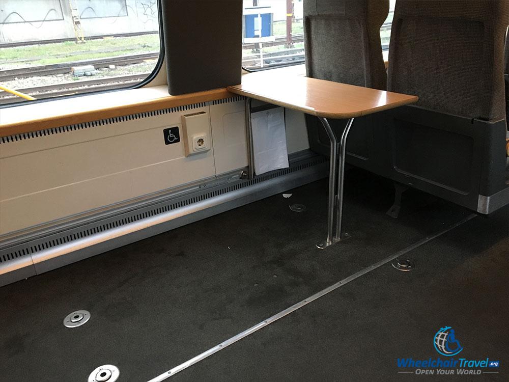 Wheelchair space on SJ train.