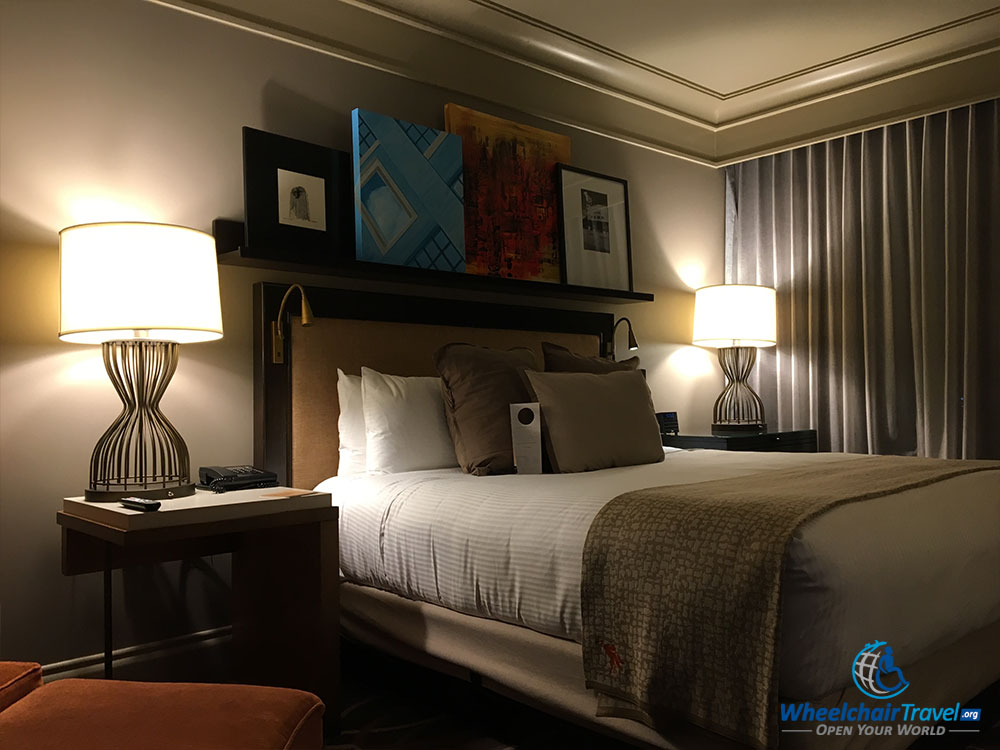 Deluxe room with king size bed at Omni Dallas Hotel