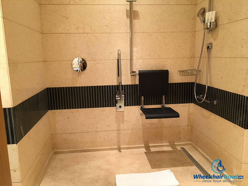 Wheelchair accessible roll-in shower at Le Méridien Cairo Airport hotel