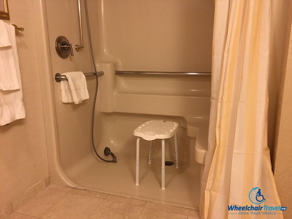 wheelchair accessible rollin shower at monte carlo las vegas hotel