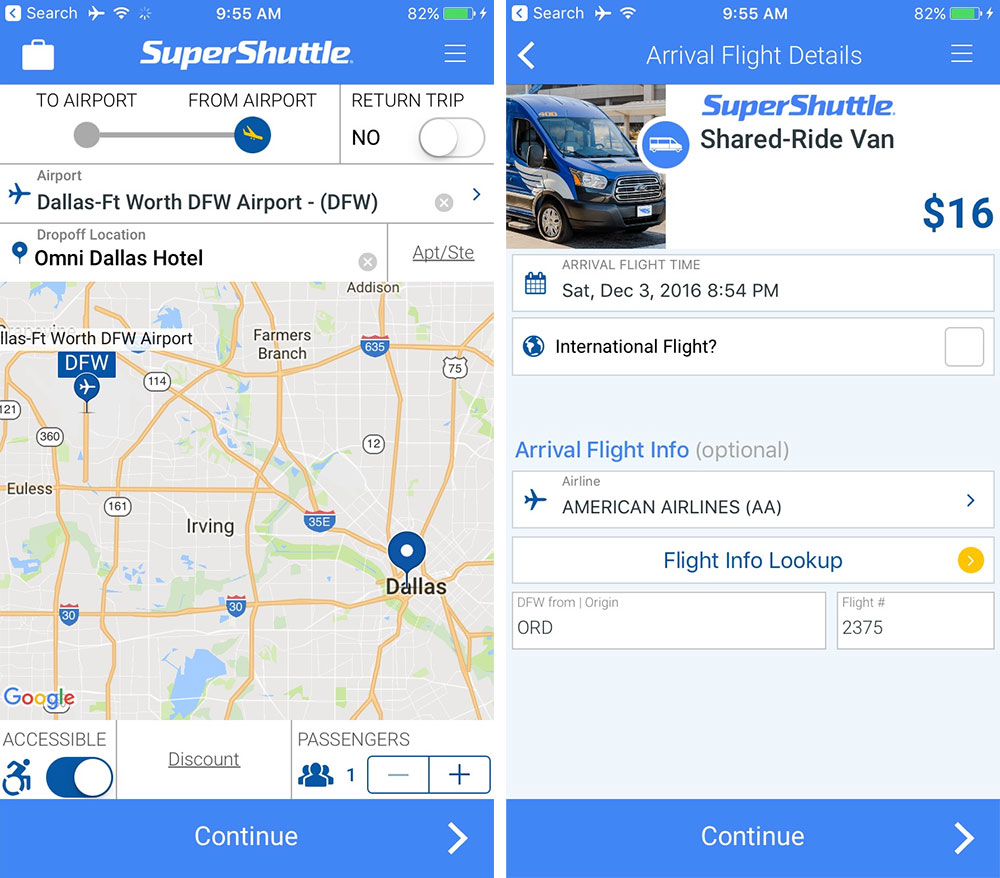Wheelchair Accessible SuperShuttle Booking on iPhone App