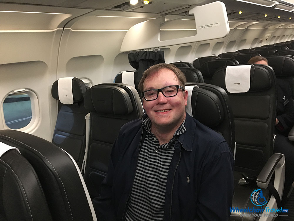 John Morris sitting in British Airways Club Europe business class