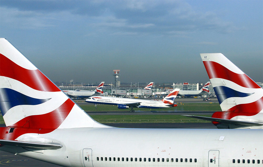 Stock Photo: British Airways planes at London-Heathrow Airport