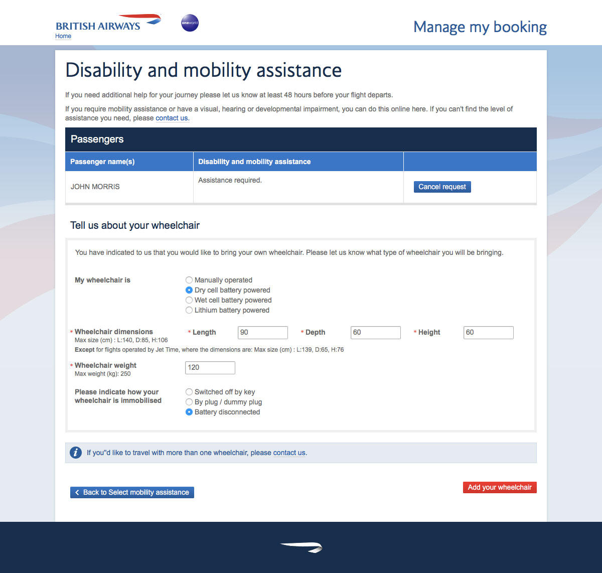 Form to provide information about your personal wheelchair on the British Airways website
