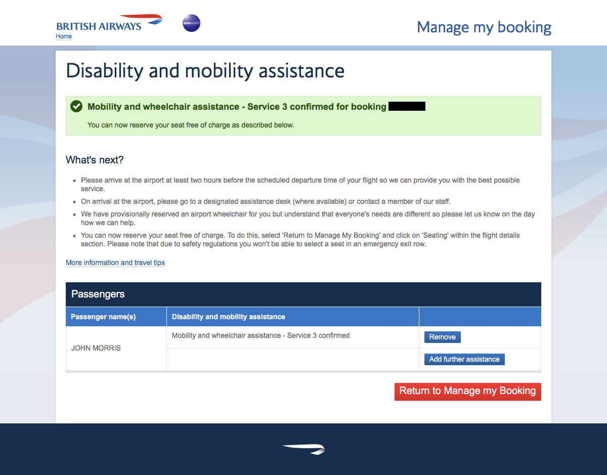 British Airways special service request confirmation page