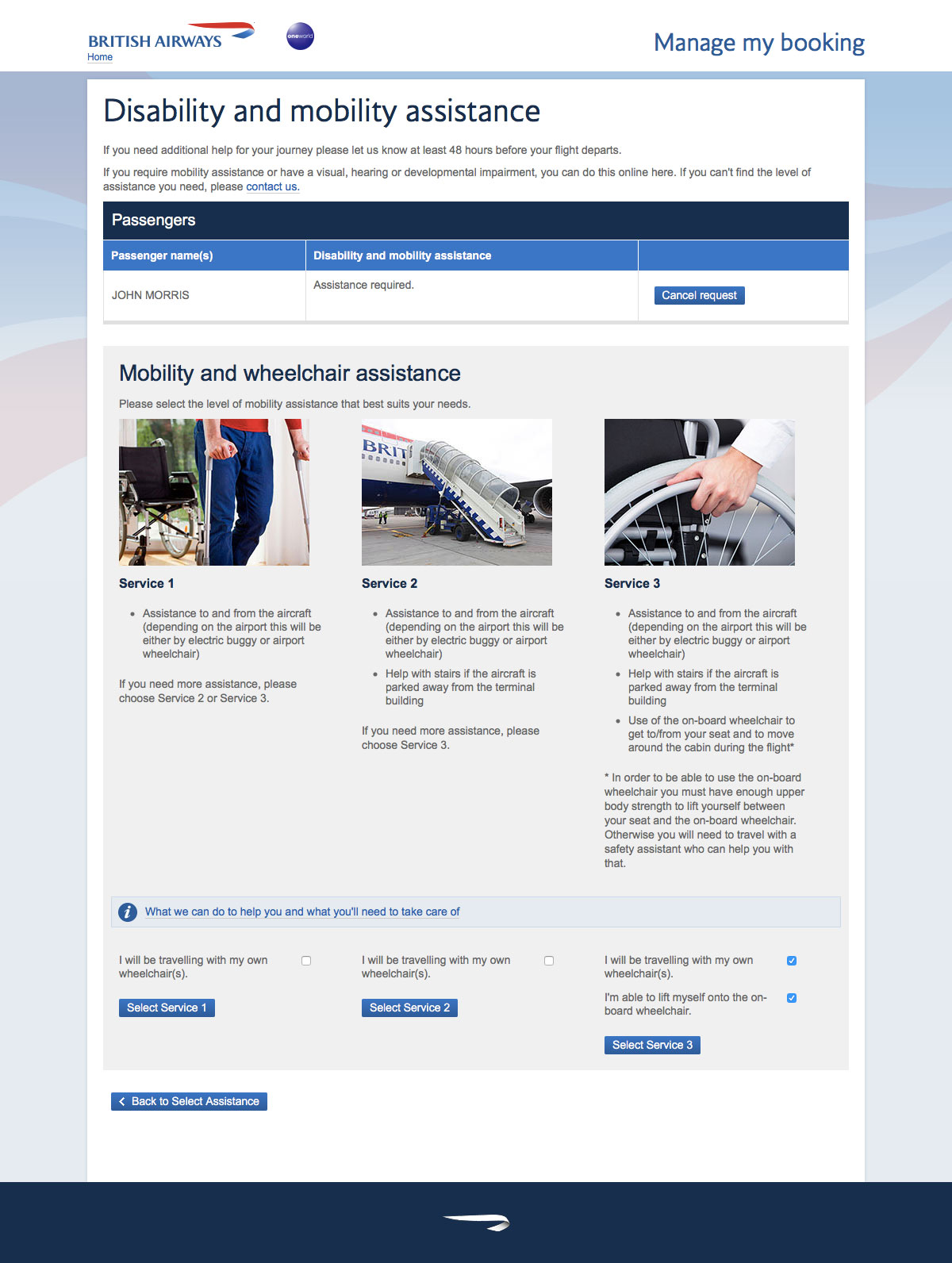 Select the type of wheelchair assistance necessary for your British Airways flight