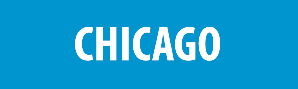 PHOTO DESCRIPTION: White text on a blue background that reads CHICAGO.