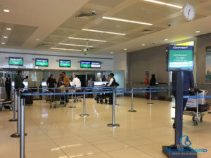 EgyptAir check-in counter at Abu Dhabi International Airport