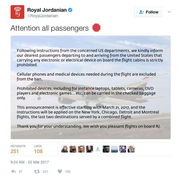 Tweet from Royal Jordanian airline