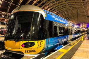 Heathrow Express train at London Paddington Station.