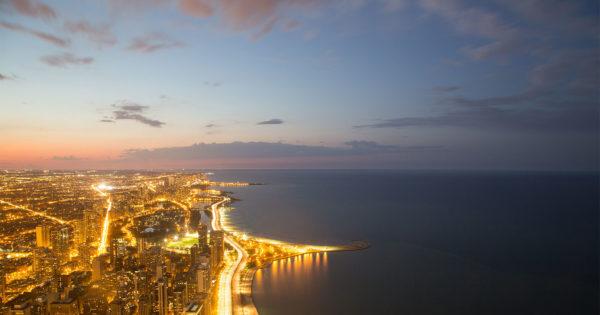 Chicago skyline at night