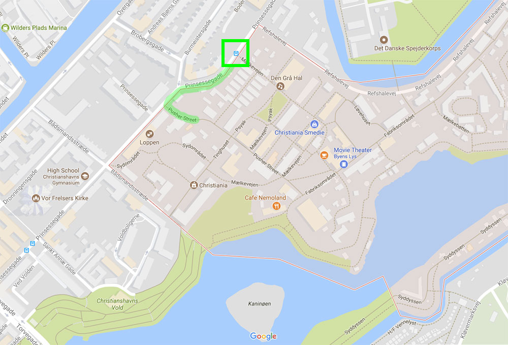 Map of Copenhagen, surrounding Freetown Christiania.
