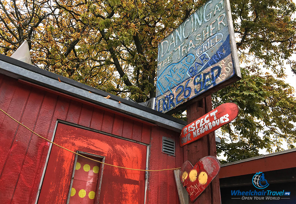 Restaurant and bar in wheelchair accessible Freetown Christiania.