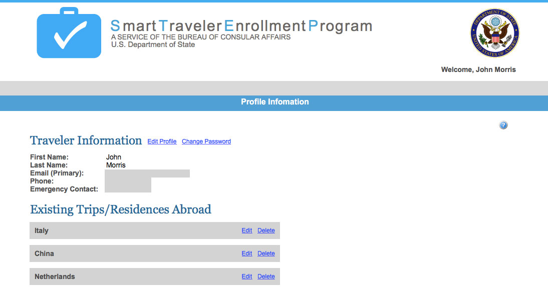 Register With State Department Travel