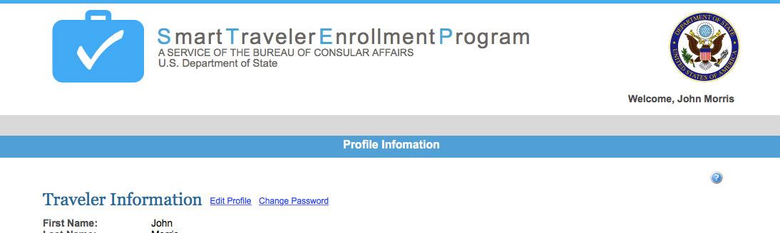 Smart Traveler Enrollment Program website