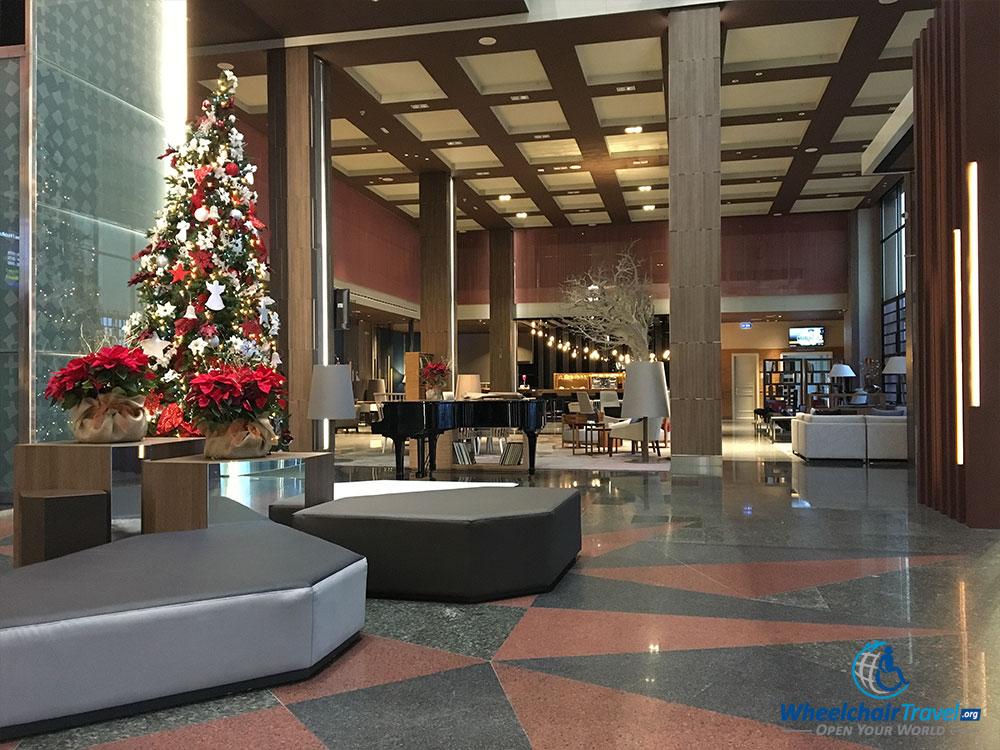 Christmas Tree on the lobby level of the Madrid Marriott Hotel.