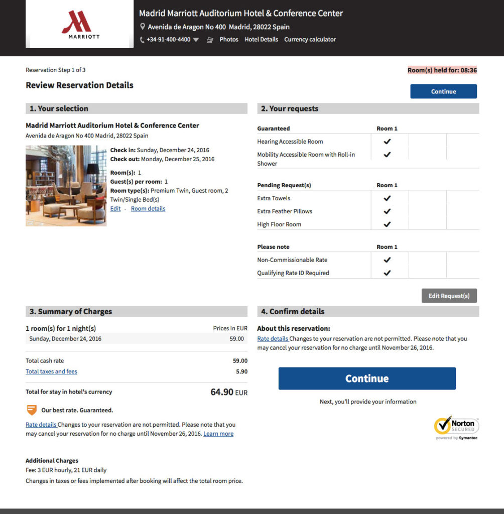 Screenshot of the Madrid Marriott reservation confirmation webpage.