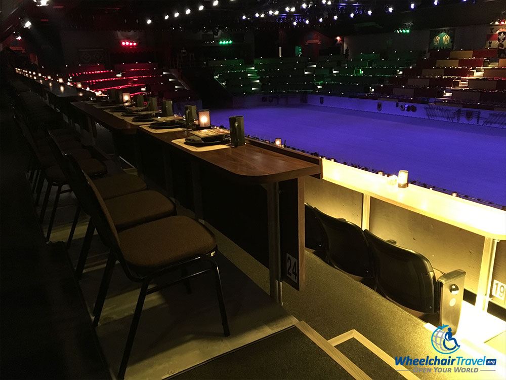 Wheelchair accessible ADA seating at the Medieval Times castle in Chicago.