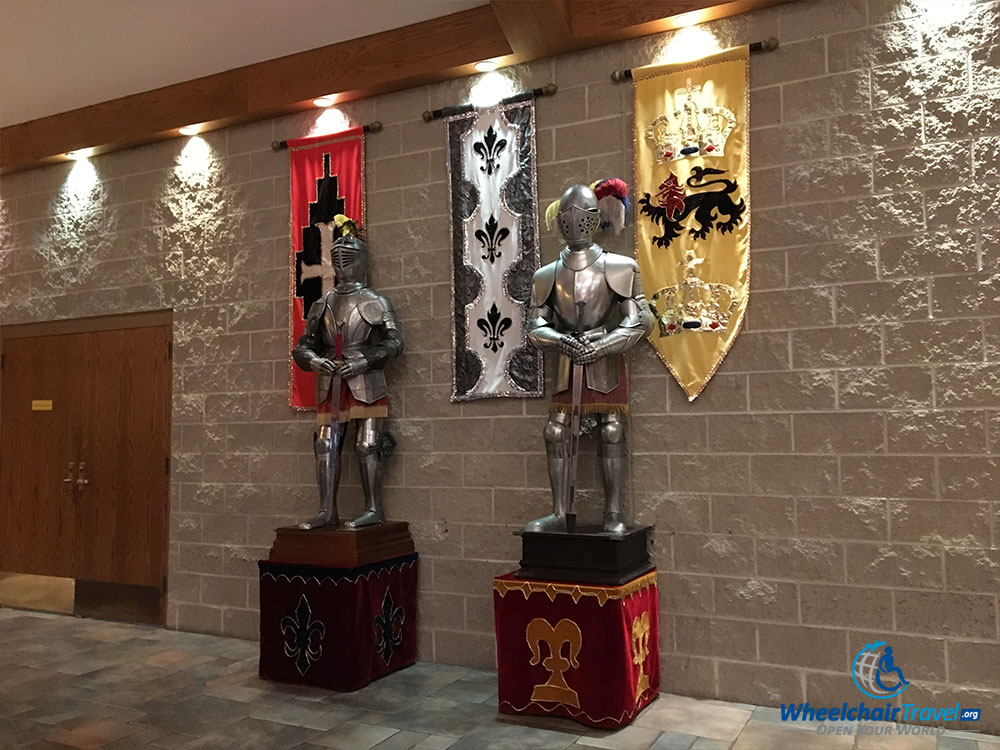 Decorative display inside the Medieval Times castle.