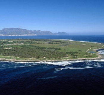 Aerial shot of Robben Island, where Nelson Mandela was held during Apartheid in South Africa