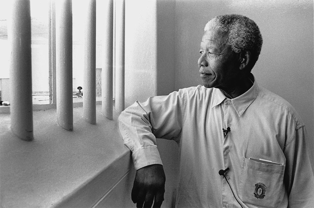 Nelson Mandela, returning to Robben Island in this 1994 photo.