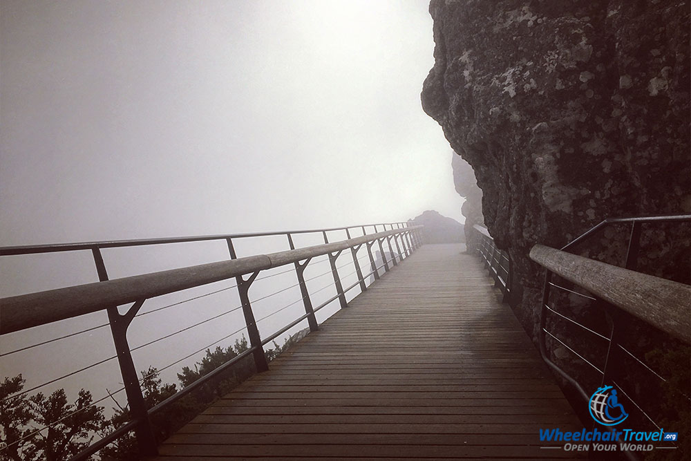 Wooden bridge built into the side of Table Mountain