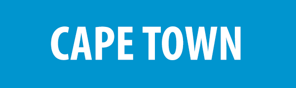 PHOTO DESCRIPTION: White text on a blue background that reads CAPE TOWN.