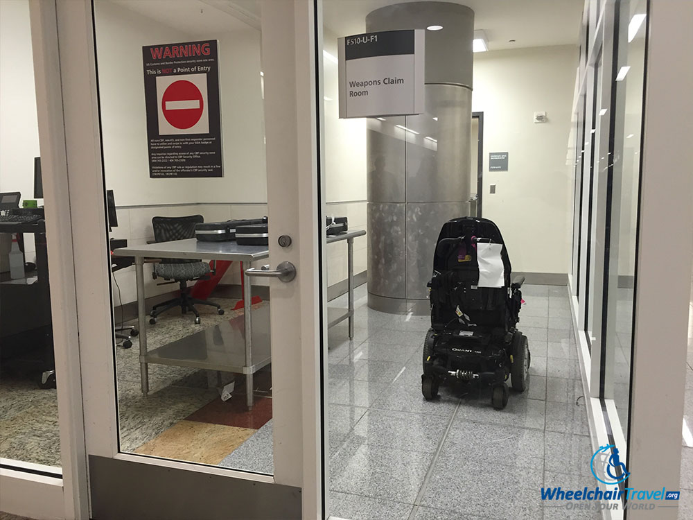 Power wheelchair stored at CBP after Delta Air Lines refused to return it at the aircraft door.