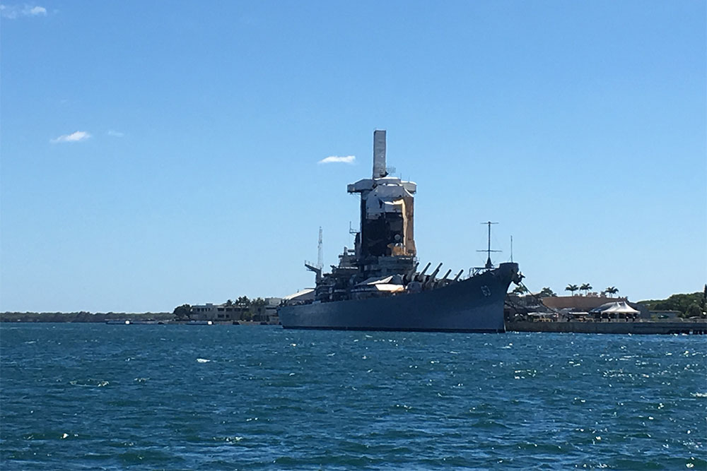 The USS Missouri anchored in Pearl Harbor. Japan signed its surrender on this ship to end World War II.
