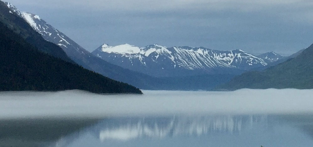 Mist covering a lake in Seward, Alaska.