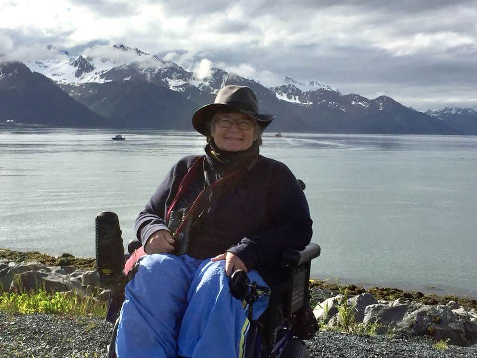 Sandra Gail Lambert, traveling to Alaska with a power wheelchair.