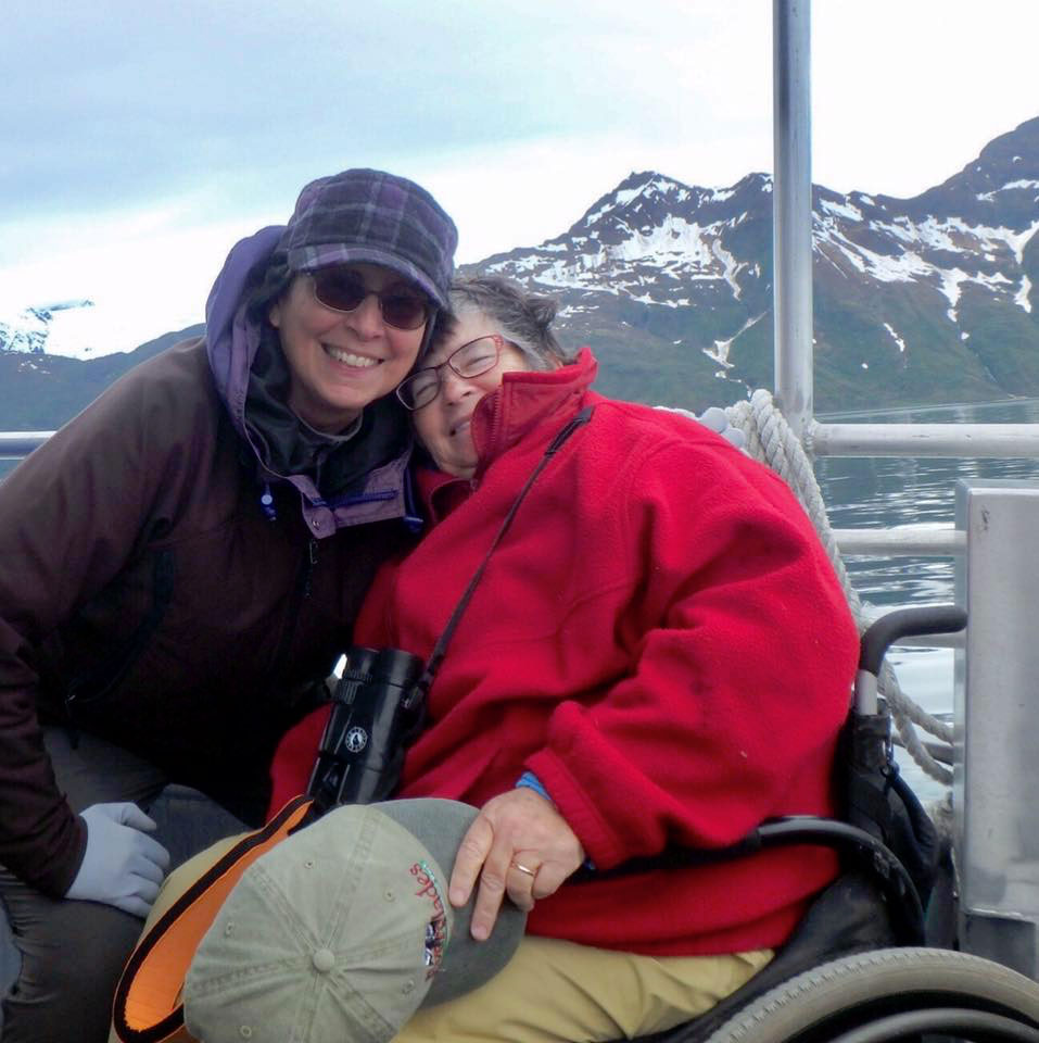 Sandra Gail Lambert with wife, Pam, on a water taxi in Alaska.