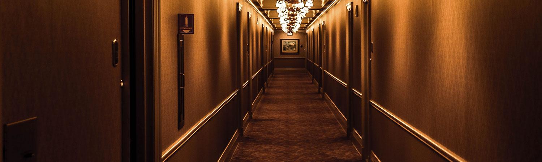 Wheelchair accessible hotel room hallway